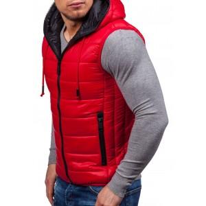 Červená pánska vesta s vreckami a kapucňou