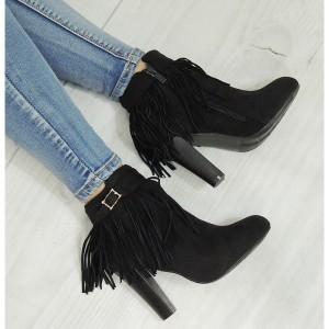 Elegantné členkové topánky v čiernej farbe semišové