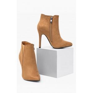 Dámske kotníkové topánky na vysokom podpätku hnedej farby