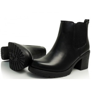 Dámska členková obuv čiernej farby na jar