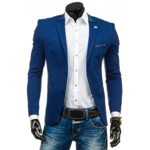Pánske elegantné sako svetlo modrej farby s detailom na golieri