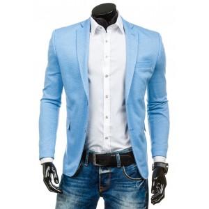 Športové sako svetlo modrej farby so vzorom