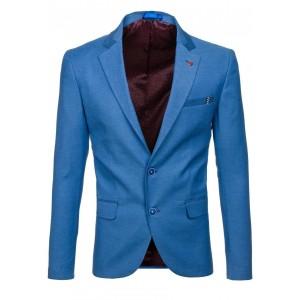 Modré slim fit pánske sako s nášivkou na vrecku