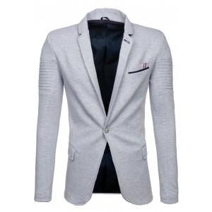 Pánske elegantné sako sivej farby s predným vreckom