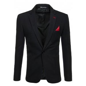 Slim fit čierne pánske saká s červeným detailom
