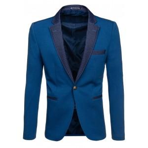 Pánske modré sako slim fit s rifľovým golierom