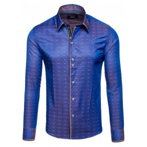 Pánska košeľa tmavo modrej farby s hnedým vzorom