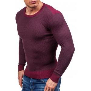 Pánsky sveter bordovej farby s kockovaným motívom