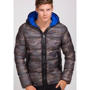 Zimná pánska bunda v hnedých farbách ARMY s modrou podšívkou