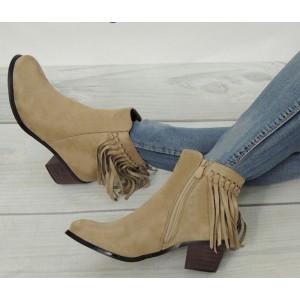 Béžové dámske topánky na zimu s nízkym podpätkom