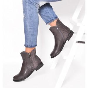 Zimné dámske členkové topánky sivej farby so zipsom a nízkym podpätkom