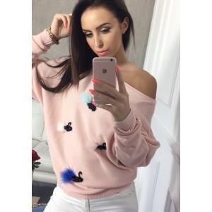 Sexi ružový dámsky pletený svetrík so vzorom labutí