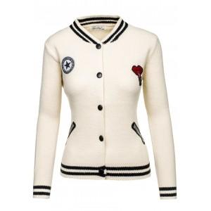 Dámska jarná bunda bielej farby s farebnými nášivkami