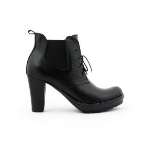 Dámske kožené členkové topánky na podpätku čierne