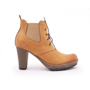 Kožená dámska obuv pieskovej farby na šnúrovanie