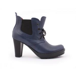 Tmavo modré dámske kožené členkové topánky s podpätkom