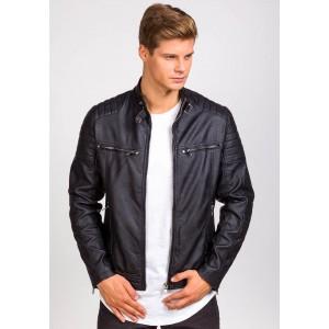 Krátka pánska koženková bunda bez kapucne čierna