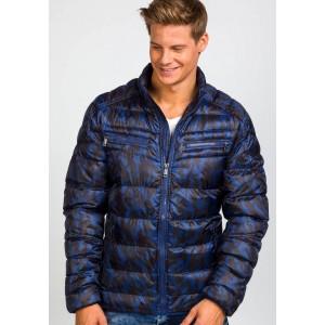Modré krátke pánske jesenné a jarné bundy bez kapucne