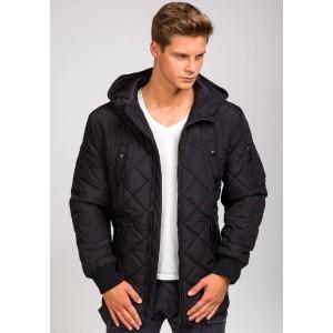Dlhá pánska zimná bunda s kapucňou čiernej farby