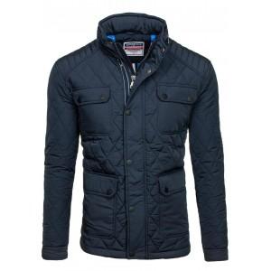 Pánska kabátová bunda bez kapucne tmavomodrej farby