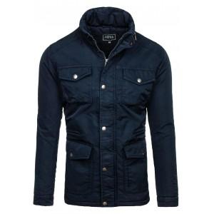 Zateplená zimná bunda pre pánov tmavomodrej farby