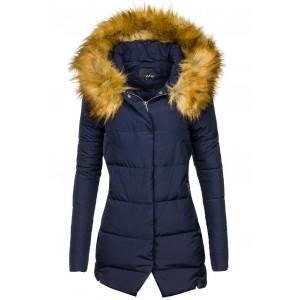 Modrá dámska zimná bunda s kožušinou