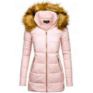 Zimná dámska perová bunda pudrová