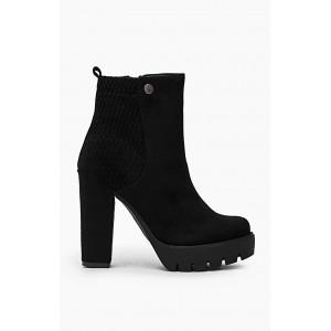 Semišové dámske členkové topánky čierne na vysokom podpätku
