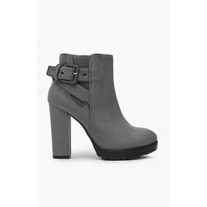 Sivé zimné kotníkové topánky s prackou