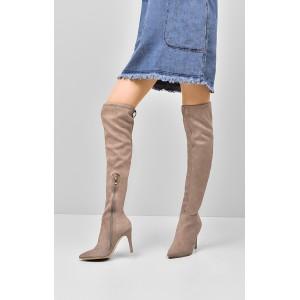 Béžové dámske zimné čižmy s ostrou špičkou