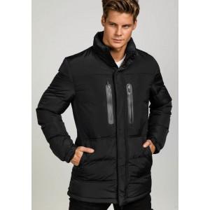 Čierna pánska zimná bunda s kapucňou dlhá