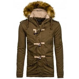 Khaki pánska zimná bunda s kapucňou