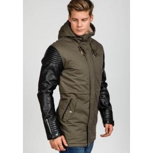 Štýlová pánska khaki bunda s koženými rukávmi
