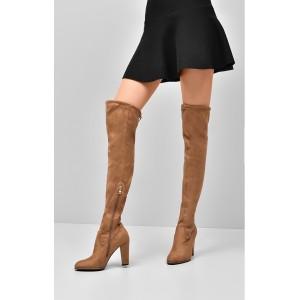 Vysoké dámske čižmy hnedé nad kolená
