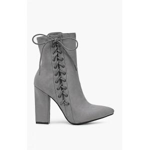 Sivé dámske zimné topánky s podpätkom