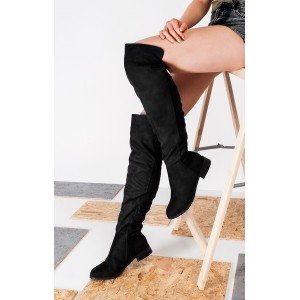 Čierne dámske zimné čižmy s nízkym podpätkom