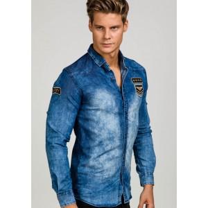 Riflová pánska košeľa s dlhým rukávom