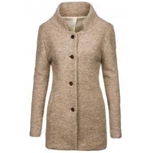 Béžový dámsky kabát na zimu