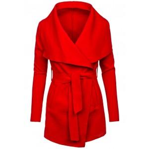 Červený dámsky kabát krátky