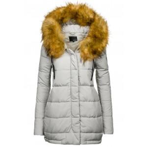 Sivá dámska zimná bunda prešívaná