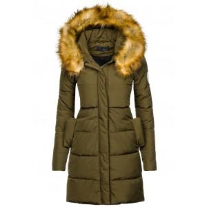 Zelená zimná bunda dlhá s kožušinou