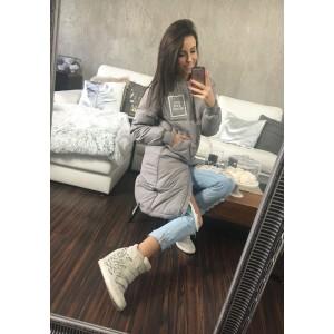 Dlhá dámska zimná bunda v sivej farbe