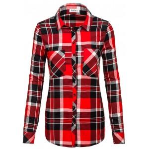 Červená dámska košeľa flanelová