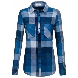 Flanelová dámska košeľa modrá