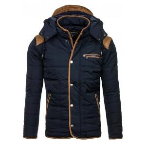 Granátová pánska zimná bunda s kapucňou