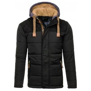 Čierna pánska zimná vetrovka s kapucňou