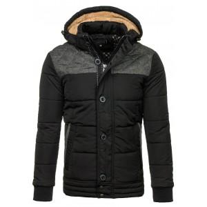 Hrubá pánska zimná bunda čierna