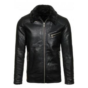 Čierna pánska kožená bunda s kožušinou