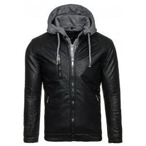 Čierna pánska koženková bunda s kapucňou