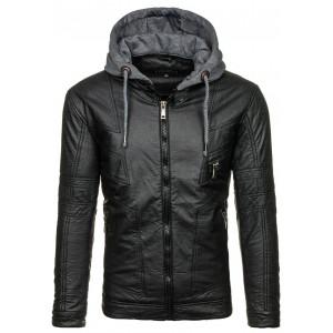 Čierna pánska kožená bunda prešívaná